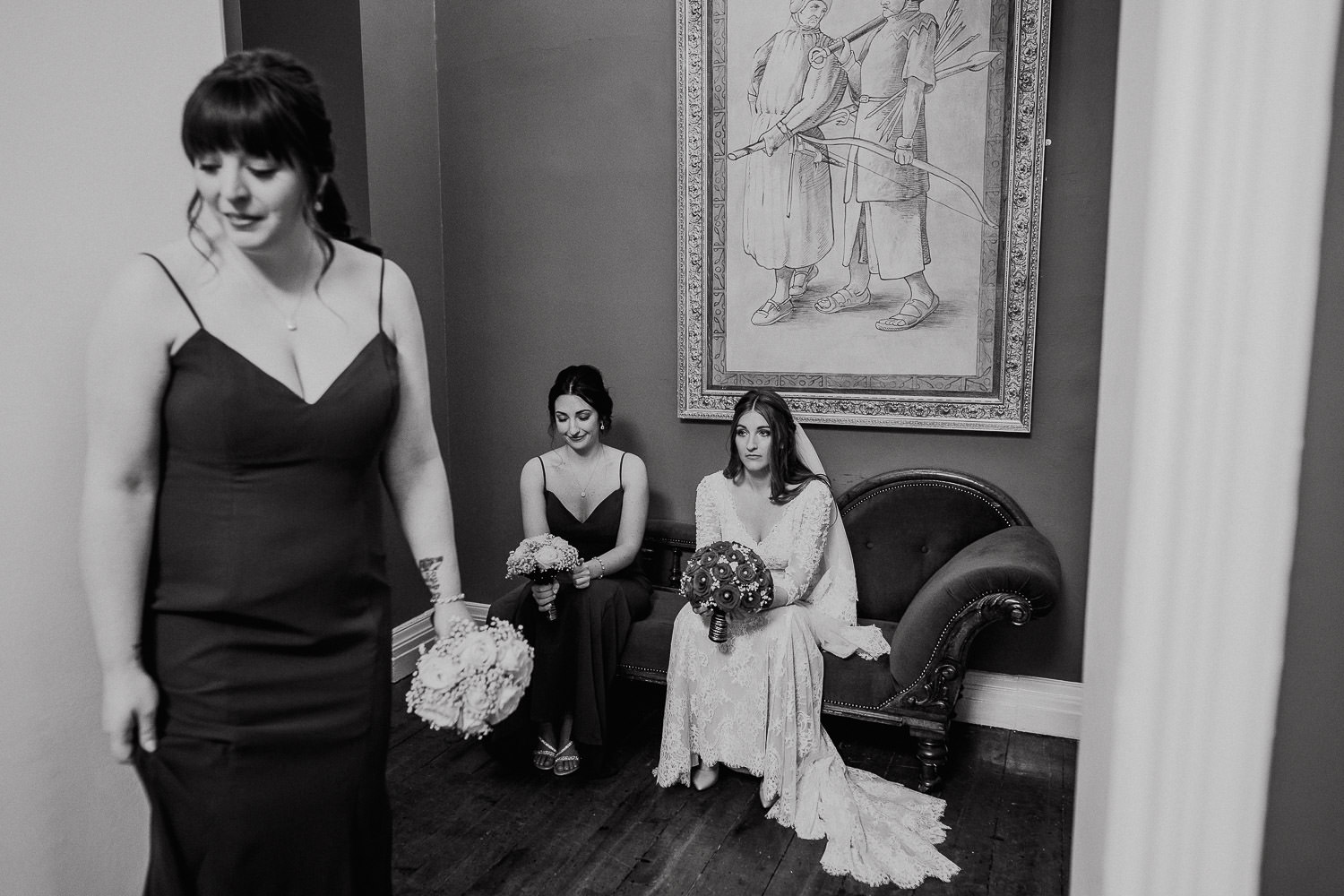 bridal party waiting for wedding ceremony to start