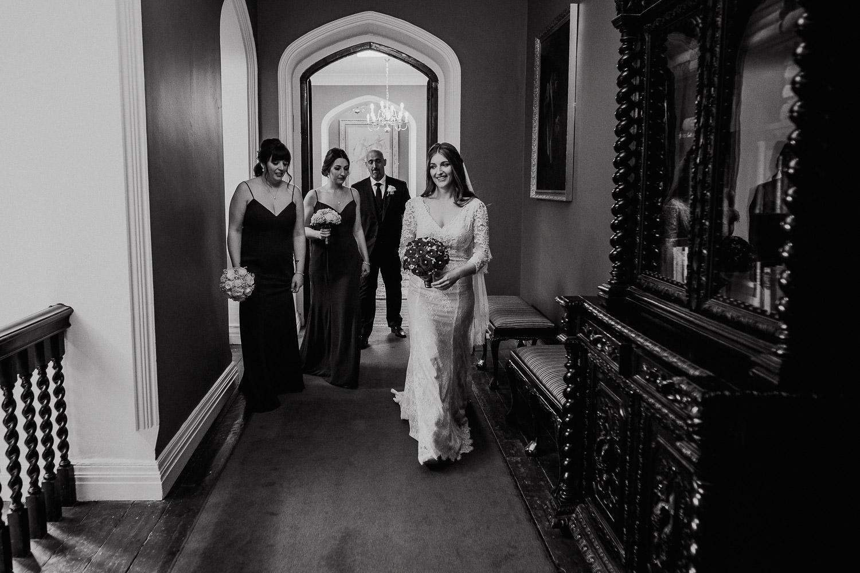 bride walking through the corridor at Kinnitty Castle