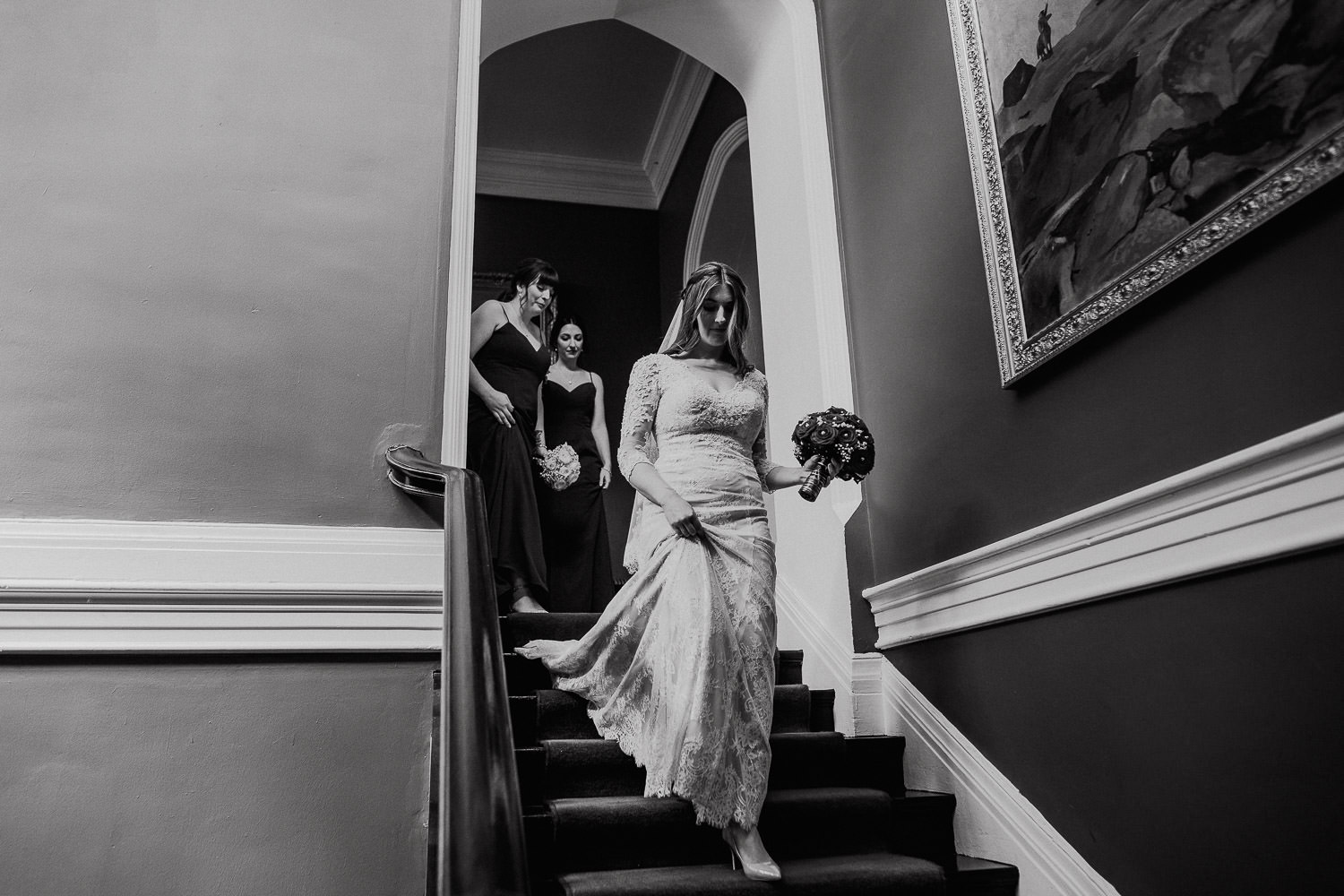 bride walking down the stairs at Kinnitty Castle