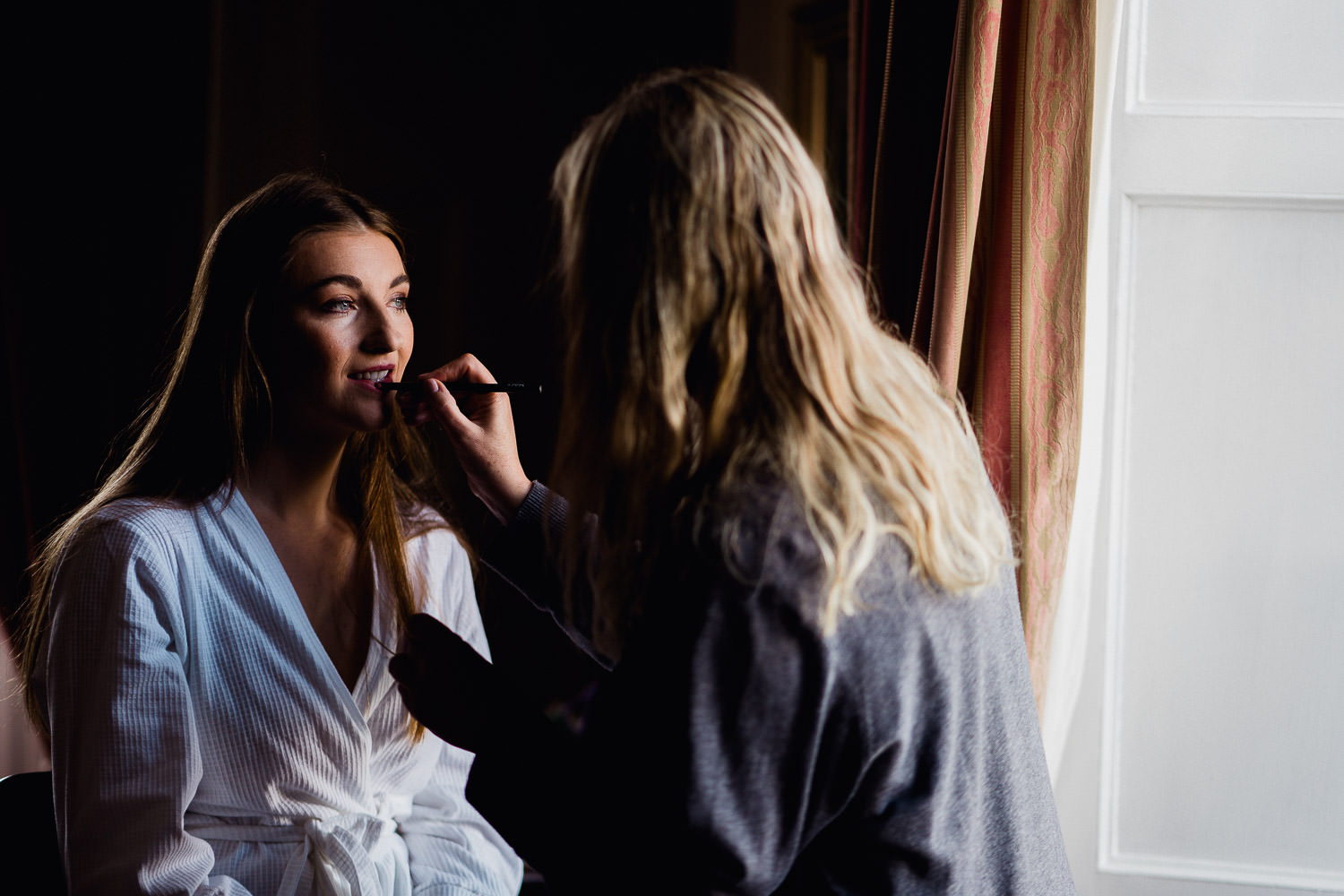 Bride having her make up done at Kinnitty Castle