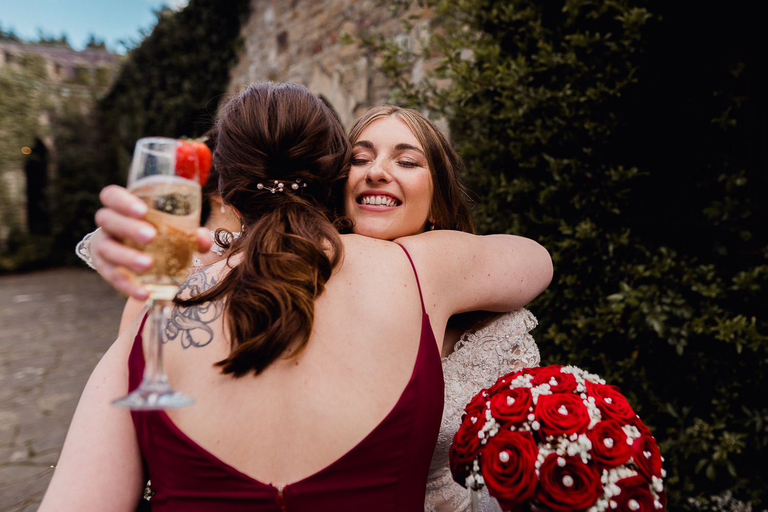 bride hugging wedding guests at Kinnitty Castle